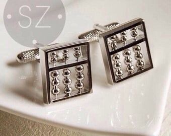 Solid Premium Abacus Cufflinks, Silver - Maths Novelty - Highest Quality - Gift Boxed - UK - Wedding