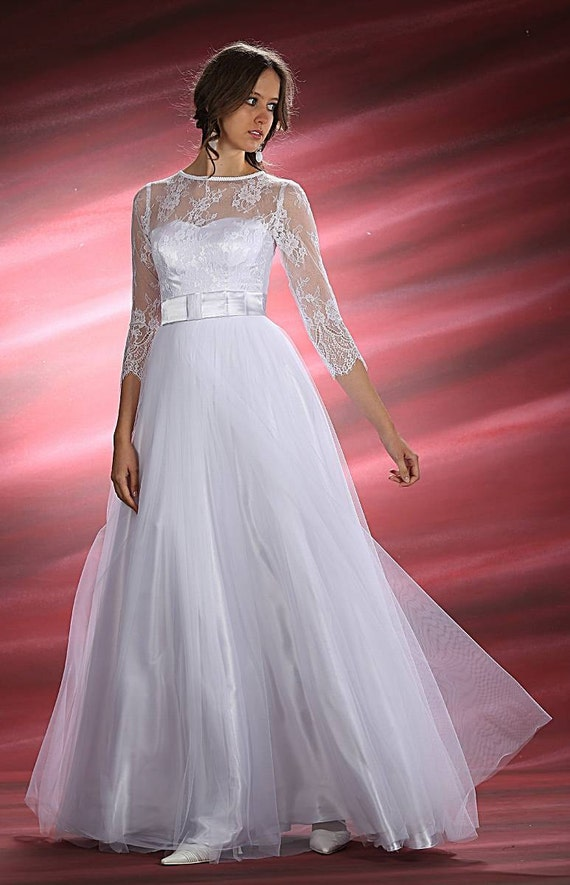 Items Similar To Wedding Dress Wedding Gown With French Lace And Tulle Sleeve 3 4 White Or