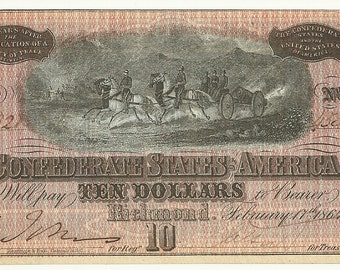 Authentic 1864 Uncirculated 10 Dollar Confederate States of America Bill - Serial 45321, Plate F, Fricke T68, Variety PF-44