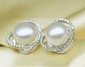 large size genuine pearl stud earrings, white pearl stud earrings, fine pearl, wedding jewelry, bridal w/ CZs, large size