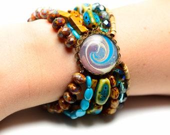 Blue & Brown Stretch Bracelet