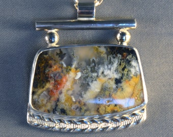 Northridge Plume Agate and Sterling Silver Pendant
