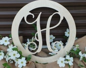 Unfinished Wooden Vine Script Letter - Connected Circle Border - Ready to Paint - Wedding Guest Book - Wooden Letter - Mother's Day Gift