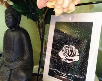 "Handmade linocut print - ""Meditative Rose at Night"""