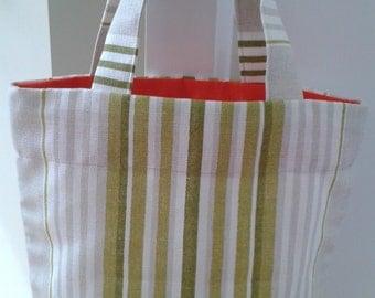 Stripy mini tote bag, small tote bag, lunch tote bag, mini shopper