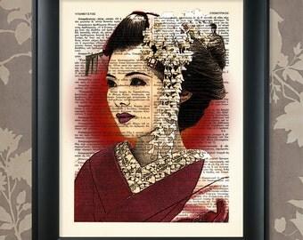 Japanese Geisha, Proud / Japanese Geisha Art, Geisha Print, Geisha Poster, Geisha Wall Art, Upcycled Dictionary / Vintage Greek Encyclopedia