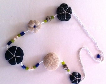necklace is made from cultured pearls ,Japanese vintage indigo and semi-precious glass beads.
