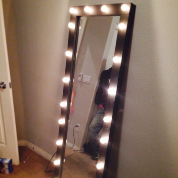 items similar to full length lighted vanity mirror on etsy. Black Bedroom Furniture Sets. Home Design Ideas