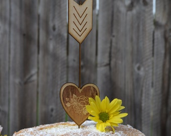 Rustic cake topper, wooden Arrow and Heart - Wedding Cake topper
