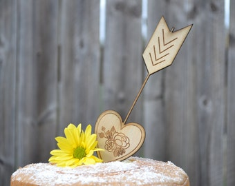 Rustic Cake Topper, Arrow and Heart - Wedding Cake topper