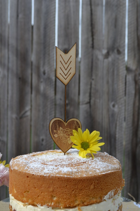 Rustic Cake Topper Wooden Arrow And Heart Wedding Cake