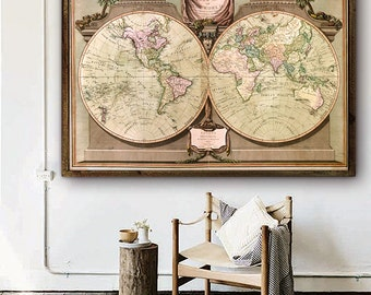"World map 1808, Historical map of the World, 4 sizes up to 54x36"" (140x90 cm) Vintage map of the World - Limited Edition of 100"