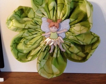 Lime Green Pixie Fairy Flower Hair Clip