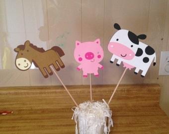 Set of 3 Farm Animal Centerpiece