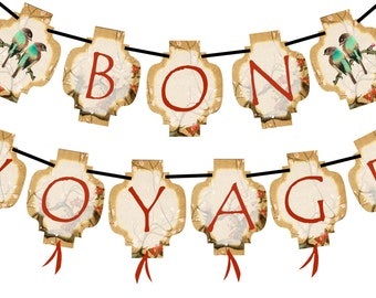 BON VOYAGE (Vintage Chinese Lanterns) INSTANT Printable Party Banner and Decoration