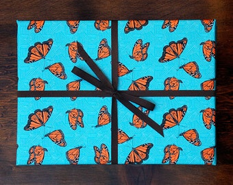 Monarch Butterfly Pattern Gift Wrap / Set of 3 Sheets