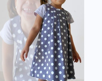Dress girl organic cotton certified GOTS grey with white background dots purple gray, folds neck front, flared shape