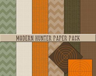 Hunting Theme Scrapbook Paper Pack Modern Hunter with chevron herringbone linen target Digital Instant Download Kit