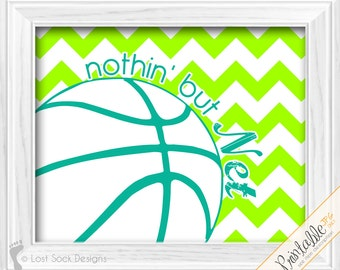 Chevron Basketball theme Nothin' but Net Lime Green & Turquoise bedroom Wall Decor printable digital download
