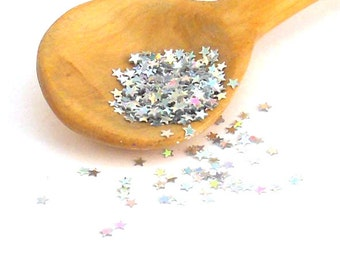 Silver Holographic Solvent Resistant Glitter Stars