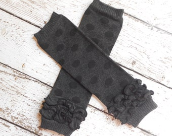 Black/Black Dots Leg Warmers with Ruffles, Leg Warmer, Girl Leggins, Wholesale Leg Warmers, One Size Leg Warmers