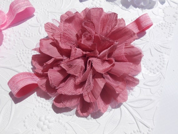 Rosy Pink Frayed Lace Chiffon flower Baby Headband, Newborn Headband,  Infant Headband,Baby Headband, Headband Baby, Baby Headband