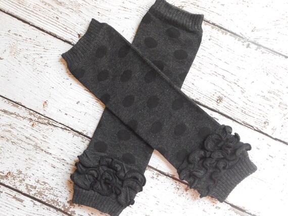 Black/Black Dots Leg Warmers with Ruffles, Leg Warmer, Girl Leggins, Wholesale Leg Warmers, One Size Leg Warmers