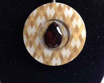 Resin Pendant (2in / Reversible): Chocolate Teardrop