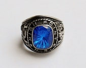 1982 Jostens High Point High School Mens' Class Ring Silver Tone with Blue Stone Football-Size 10.5