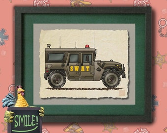 Kid Police Car Art armored car SWAT team Whimsical vehicle  print adds to kids room emergency vehicles as 8x10 or 13x19 wall decor