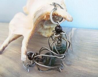 Sterling Silver wire wrapped  lampwork earrings - June Bug. OOAK.