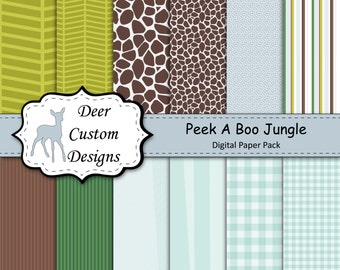 Peek A Boo Jungle Nursery by Lambs & Ivy Digital Paper Pack | 12 Digital Lambs and Ivy Inspired Scrapbook Papers | Instant Download
