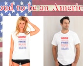 "Adult white short sleeve ""Home of the FREE because of the BRAVE"" quote Basic T-shirt"