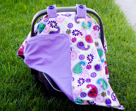 items similar to baby car seat cover for girl paisley print minky lavender polka dot fabric. Black Bedroom Furniture Sets. Home Design Ideas
