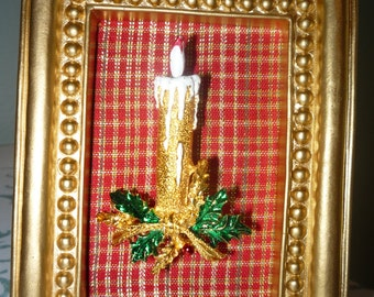 Vintage Christmas Gold Tone Candle Brooch - Wearable Framed Art