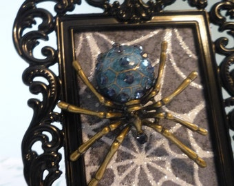 Halloween Spider Brooch - Wearable Framed Art