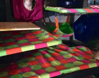 You Choose the Fabric! Double Critter Nation/Ferret Nation Fleece Pan Liner Set with Burrow Pocket