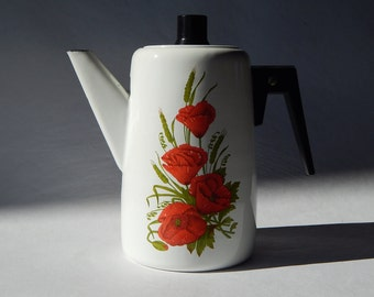 Soviet Vintage Coffee Pot, White Enamel Pot, Rustic Home Decor, USSR era on the 1970-s. Decorated Enamelware, 2 liters