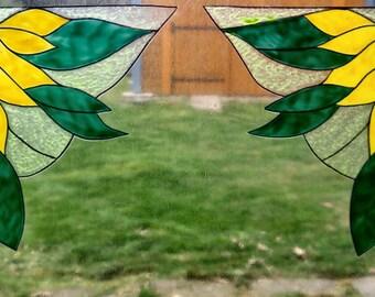 wicoart sticker window cling stained glass effect lot of 2 corners flowers
