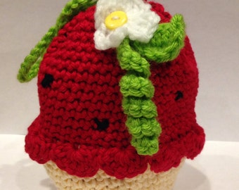 Crochet Strawberry Cupcake Drawstring Purse