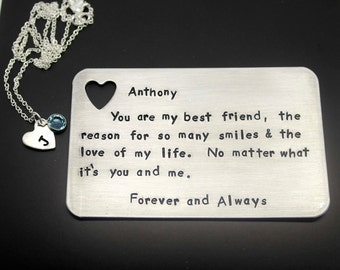 Hand Stamped Insert Card with Heart Necklace ( Sterling Silver Chain)-Personalized Message- Wedding Gift - Anniversary gift- Gift for him