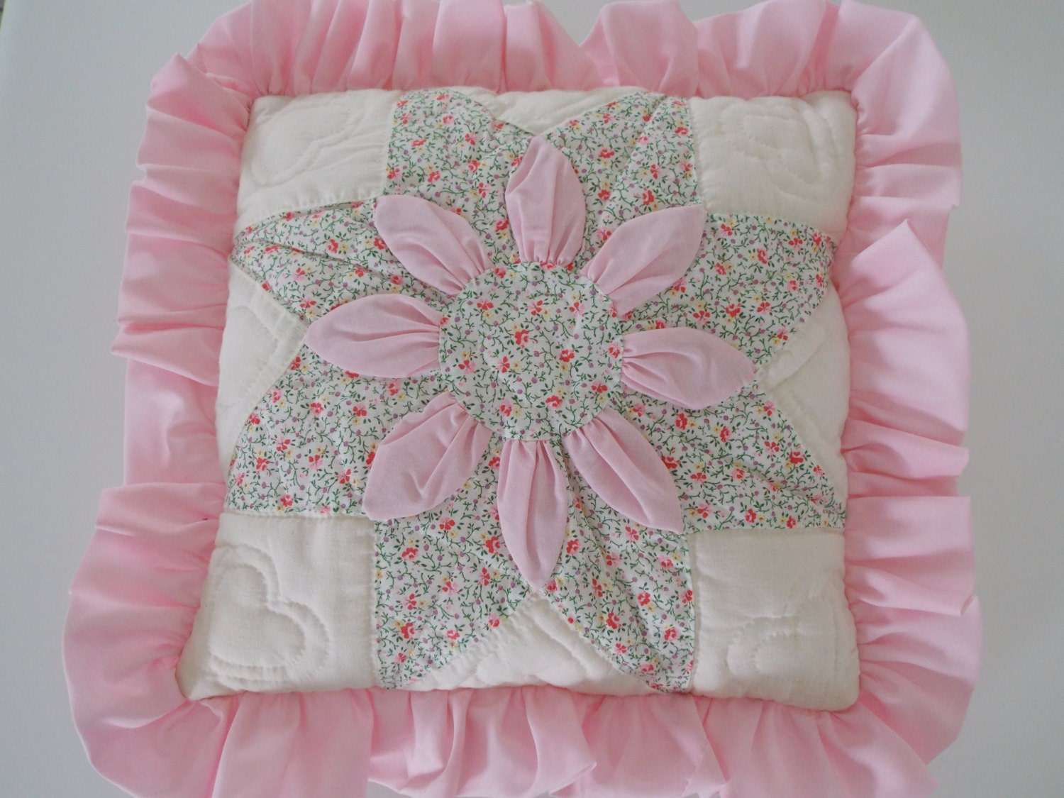 White Quilted Decorative Pillows : Patchwork Quilted Throw Pillow Pink Off White Patchwork