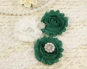 Emerald Green Garter Set, Bridal Wedding Garter, Wedding Garter, White Lace Garter, Toss Garter, Keepsake Garter, Rhinestone Garter W01-47