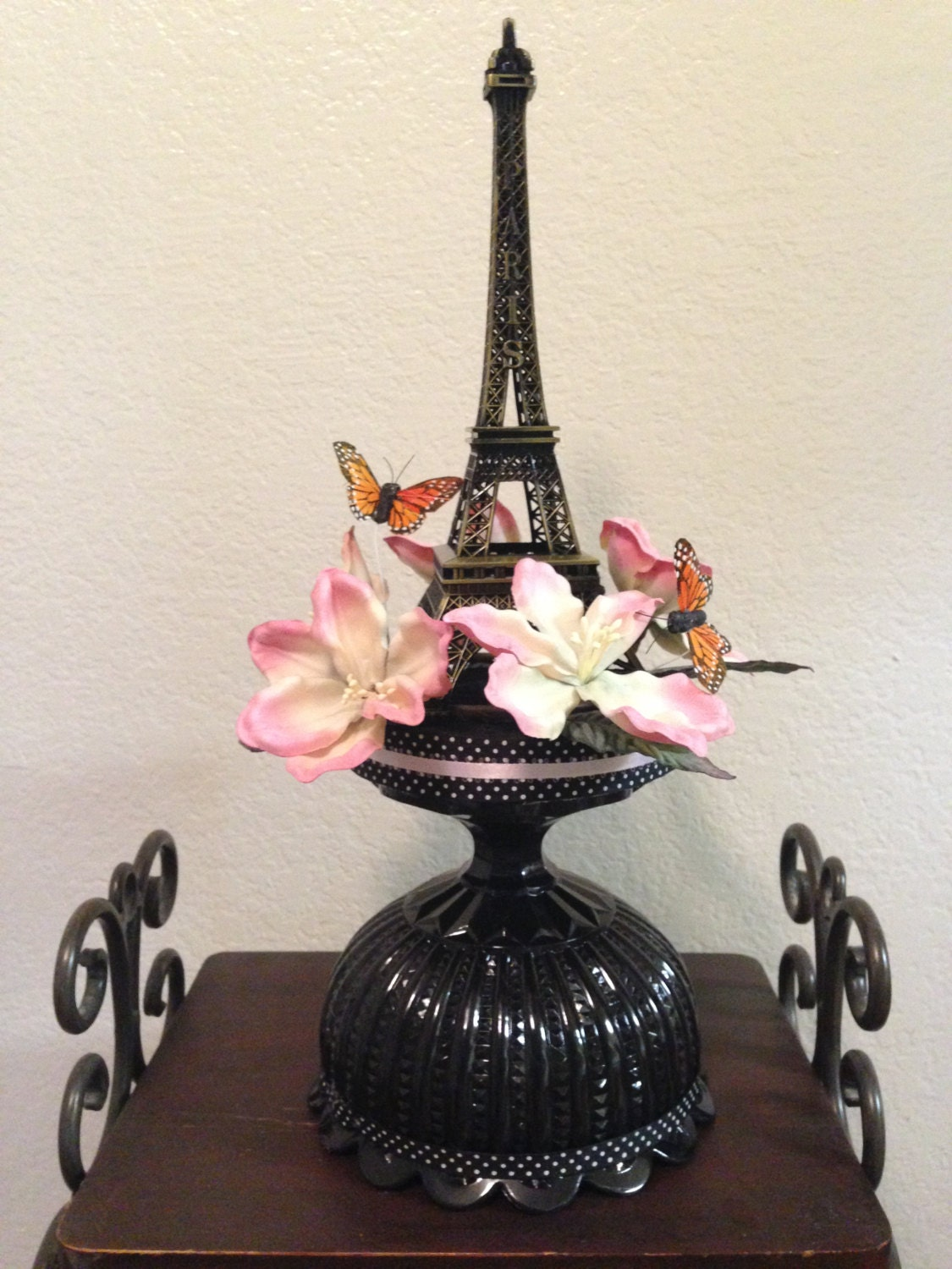Eiffel Tower Centerpiece With Butterflies And Flowers For A