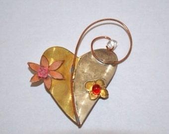 SALE Gold Silver Beaded Pink Heart Brooch