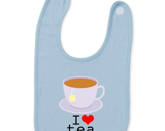 I Love Tea Funny Slogan Baby Bib Humour Gift Present Baby Shower Birthday