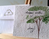 Earth Day Plantable Handmade Card.  Blank Inside. Includes envelope. Single.