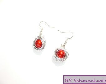 Earrings, BaliPerle, red, shiny, silver, aluminium, coil, Drahtumwickelt,.