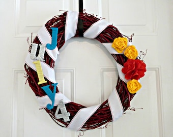 Fouth of July 4th Patriotic Holiday Wreath, July 4th Wreath, 4th of July Wreath,  USA Wreath, Red White Blue Wreath, Grapevine Wreath