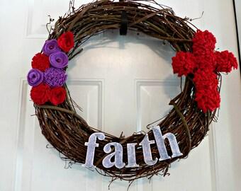 Faith, Grapevine wreaths, Cross Wreath, Grapevine wreath, Easter wreath, Easter wreaths holiday wreath easter décor felt flowers, room décor